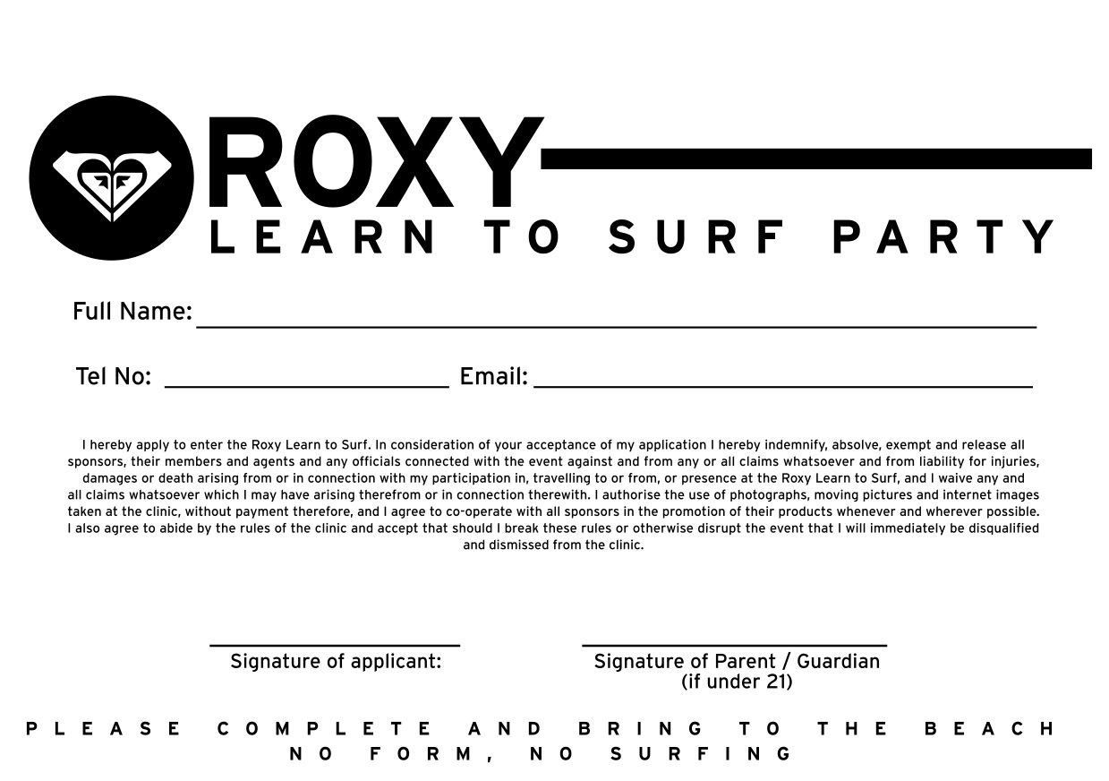Roxy Birthday Party Indemnity Form | Surf Emporium