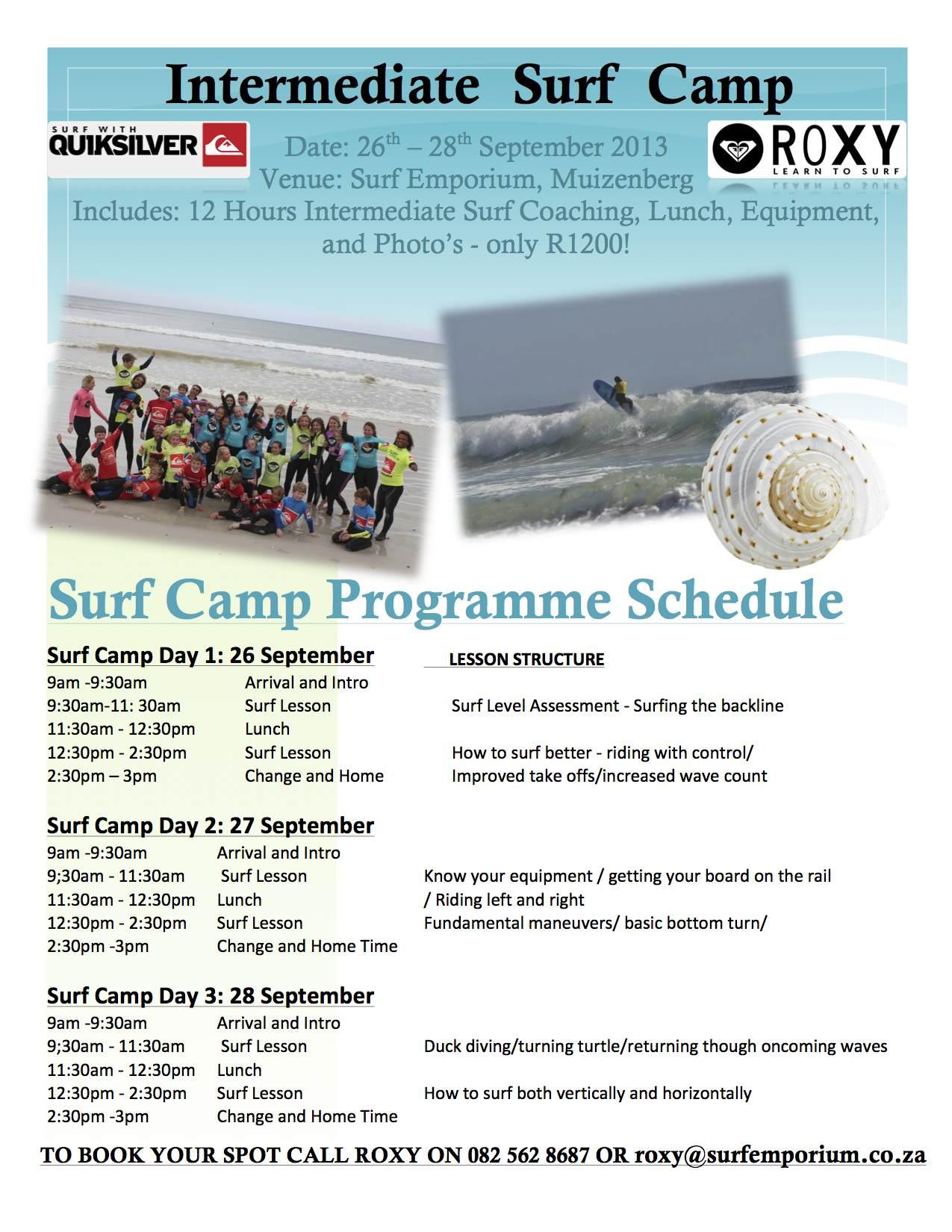 Intermediate Surfing Camp September 2013 copy